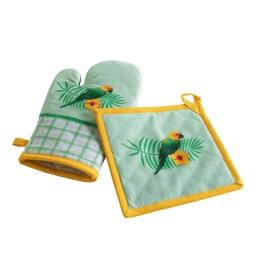 Gant + manique 18 x 28 cm/20 x 20 cm coton imprime perococo Vert