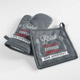 gant + manique 18 x 28 cm/20 x 20 cm coton imprime popotte