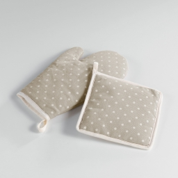 Gant+ manique 19 x 28 cm/18 x 18 cm polycoton imprime alicia Lin/Blanc
