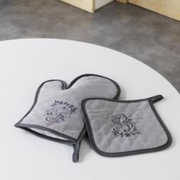 Gant + manique 19 x 28 cm/18 x 18 cm polyester brode bonheur Taupe/Anthracite