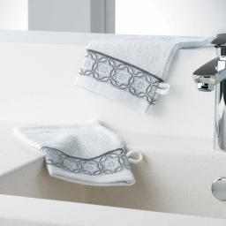 Gants de toilette /2 15 x 21 cm eponge unie jacquard adelie Blanc