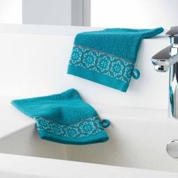 Gants de toilette /2 15 x 21 cm eponge unie jacquard adelie Bleu