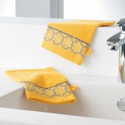 Gants de toilette /2 15 x 21 cm eponge unie jacquard adelie Miel