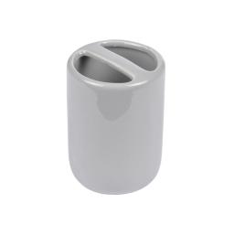 gobelet porte-brosse a dent ceramique vitamine gris clair