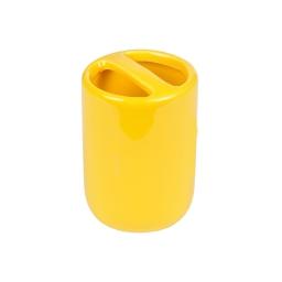 gobelet porte-brosse a dent ceramique vitamine jaune