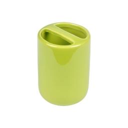gobelet porte-brosse a dent ceramique vitamine vert anis