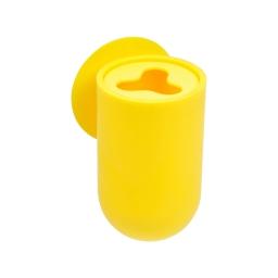gobelet porte brosse a dent ventouse plastique vitamine jaune