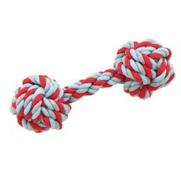 grande haltere en corde pour chien - tricolore - l.30cm