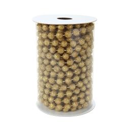 guirlande perles - rouleau de 5m-couleur or-avec paillettes-ø7,5mm
