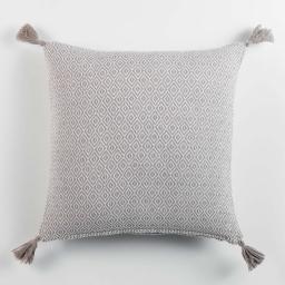 Housse coussin pompons +encart 40 x 40 cm coton tisse merina Gris
