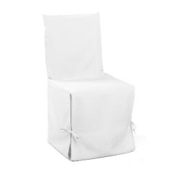 Housse de chaise nouettes 50 x 50 x 50 cm polyester uni essentiel Blanc