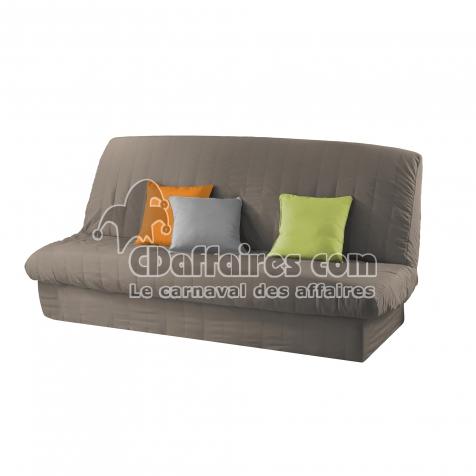housse de clic clac mat 120 140 cm 185 200 cm polye uni essentiel taupe cdaffaires. Black Bedroom Furniture Sets. Home Design Ideas