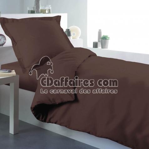 housse de couette 1 personne 140 x 200 cm uni 57 fils lina cacao cdaffaires. Black Bedroom Furniture Sets. Home Design Ideas