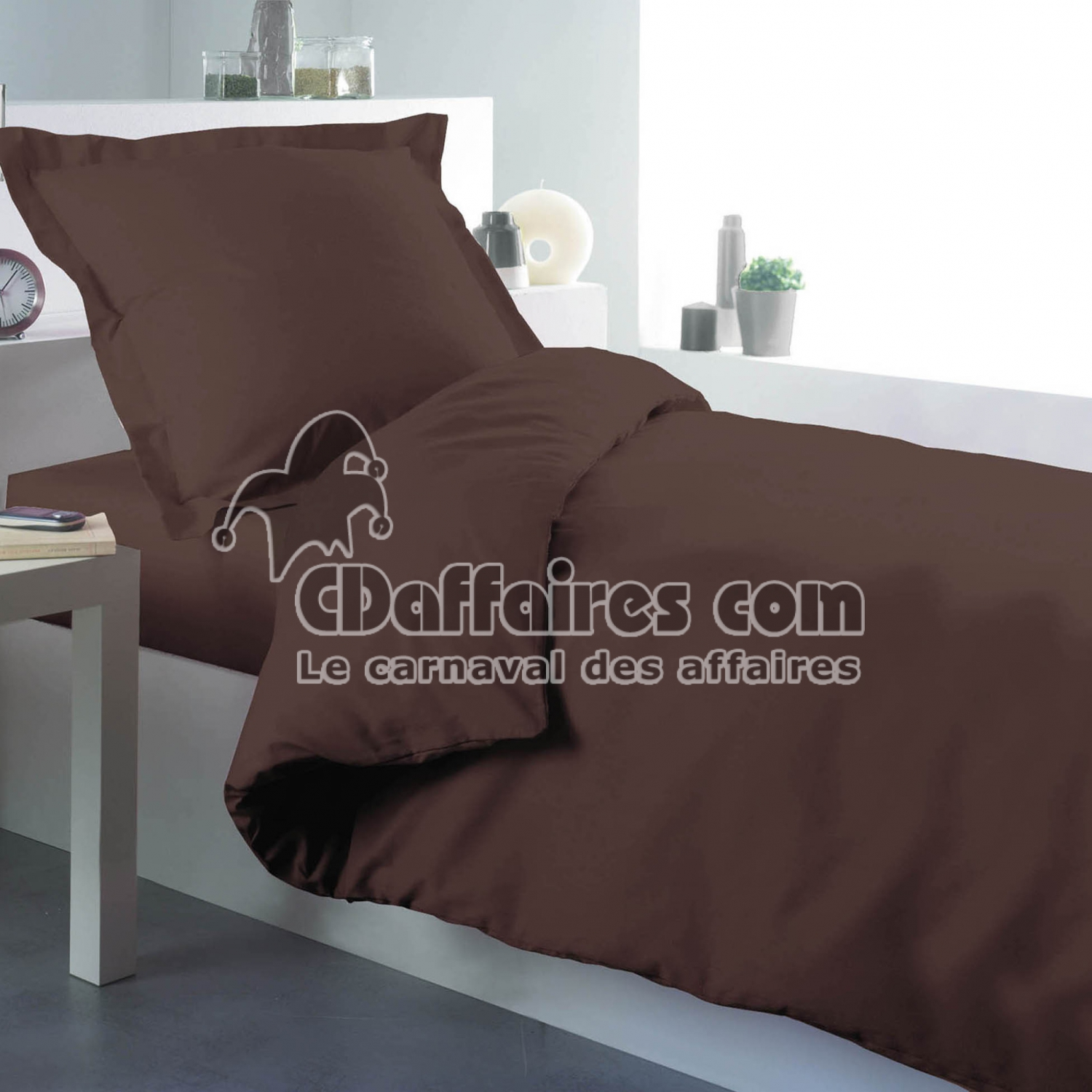 housse de couette 1 personne 140 x 200 cm uni 57 fils lina cacao cdaffaires. Black Bedroom Furniture Sets. Home Design Ideas