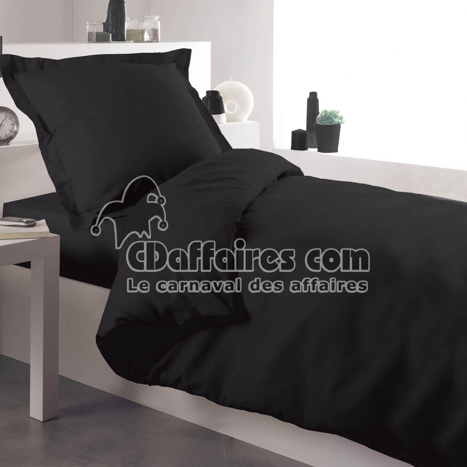 housse de couette 1 personne 140 x 200 cm uni 57 fils lina. Black Bedroom Furniture Sets. Home Design Ideas