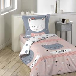 Housse de couette 140 x 200 cm + 1 taie d'oreiller 100% coton 42 fils mimi chat
