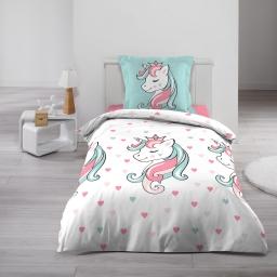 Housse de couette 140 x 200 cm + 1 taie d'oreiller 100% coton  57 fils Licorne sweet unicorn