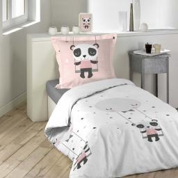 Housse de couette 140x200 cm + 1 taie d'oreiller 100% coton 42 fils allover panda