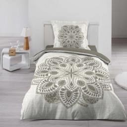 Housse de couette 140x200 cm + 1 taie d'oreiller 100% coton 42 fils dessin place alcobe