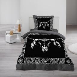 Housse de couette 140x200 cm + 1 taie d'oreiller 100% coton 42 fils dessin place haka