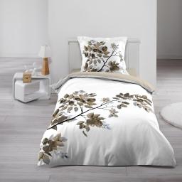 Housse de couette 140x200 cm + 1 taie d'oreiller 100% coton 42 fils dessin place palina