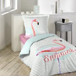 Housse de couette 140x200 cm + 1 taie d'oreiller 100% coton 42 fils dessin place summer pink