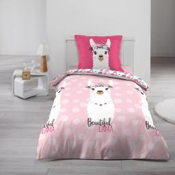 Housse de couette 140x200 cm + 1 taie d'oreiller 100% coton  57 fils allover pink lama