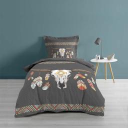 Housse de couette 140X200 cm + 1 taie d'oreiller 100% coton 57 fils dessin place indian folk