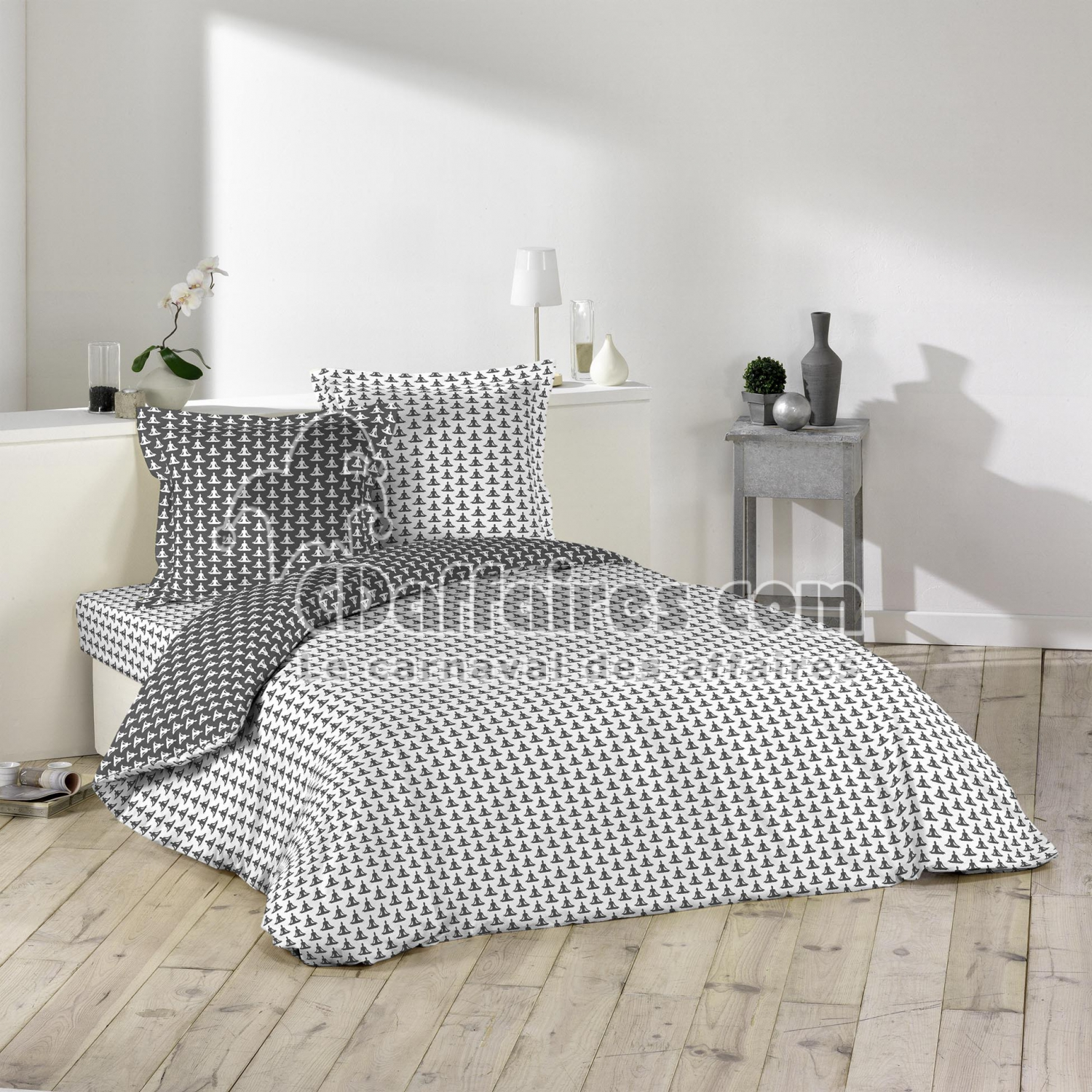 housse de couette 2 pers 240 x 220 cm imp 57 fils allover rev yoga blanc anth blanc anthracite. Black Bedroom Furniture Sets. Home Design Ideas