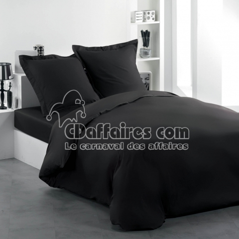 housse de couette 2 personnes 240 x 220 cm uni 57 fils lina charbon cdaffaires. Black Bedroom Furniture Sets. Home Design Ideas