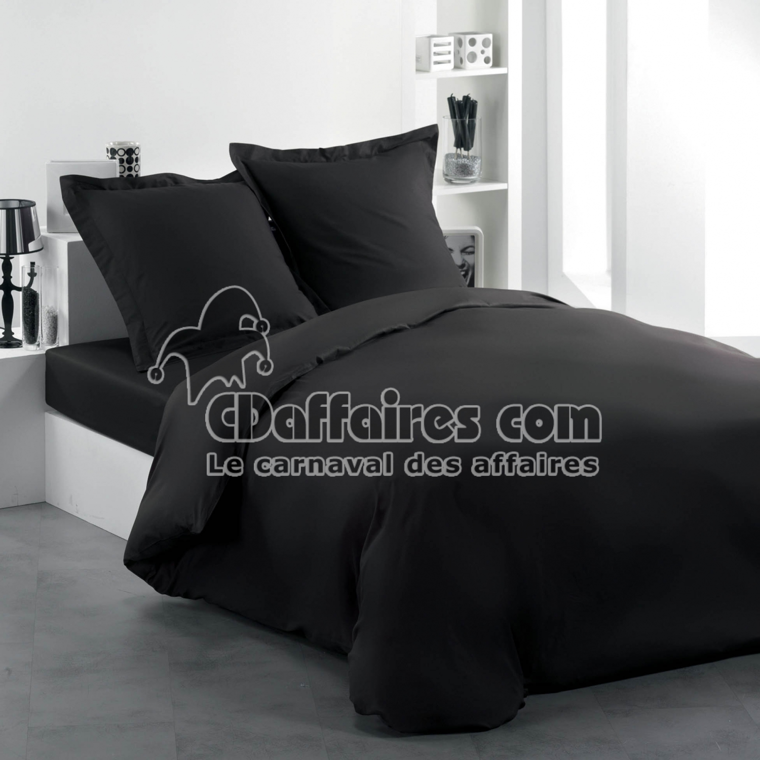 housse de couette 2 personnes 240 x 220 cm uni 57 fils. Black Bedroom Furniture Sets. Home Design Ideas