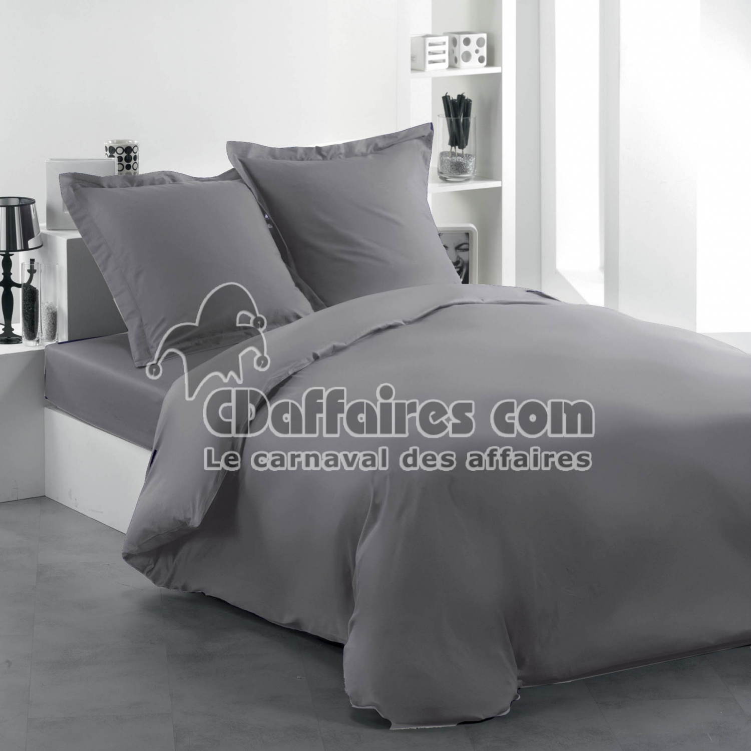 housse de couette 2 personnes 240 x 220 cm uni 57 fils lina gris souris cdaffaires. Black Bedroom Furniture Sets. Home Design Ideas