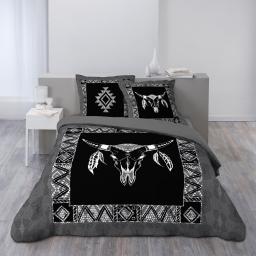 Housse de couette 200x200 cm + 2 taies d'oreiller 100% coton  42 fils dessin place haka