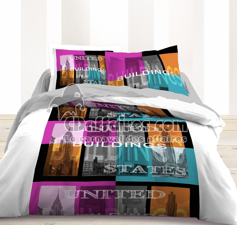 housse de couette 220x240 100 coton buildings. Black Bedroom Furniture Sets. Home Design Ideas