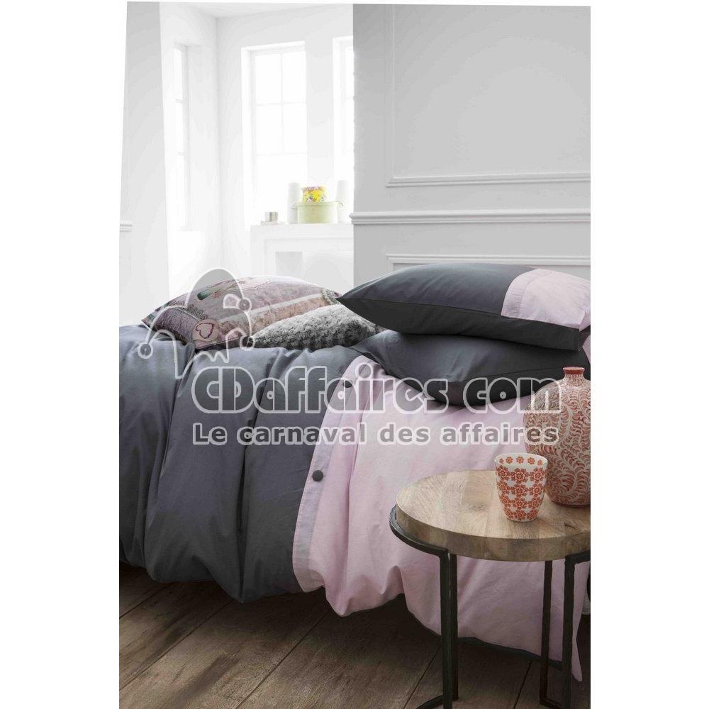 Housse de couette 220x240 cm 100 coton cassandre rose gris for Housse couette 220x240 coton
