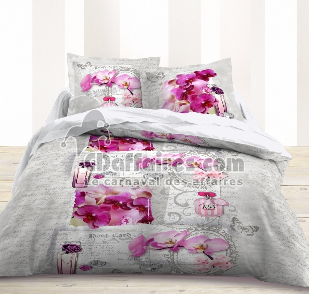 housse de couette 220x240 cm 100 coton flowers ebay. Black Bedroom Furniture Sets. Home Design Ideas