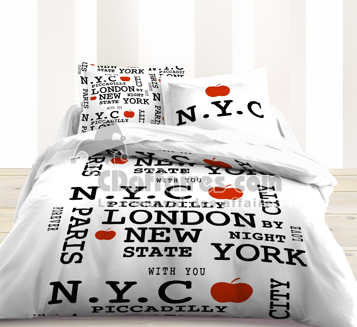 Housse de couette 220x240 cm 100 coton new york apple for Housse de couette new york 220x240