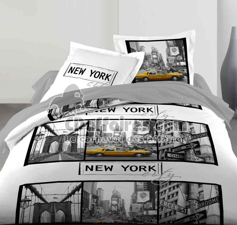 Housse couette new york 140x200 for Housse de couette new york