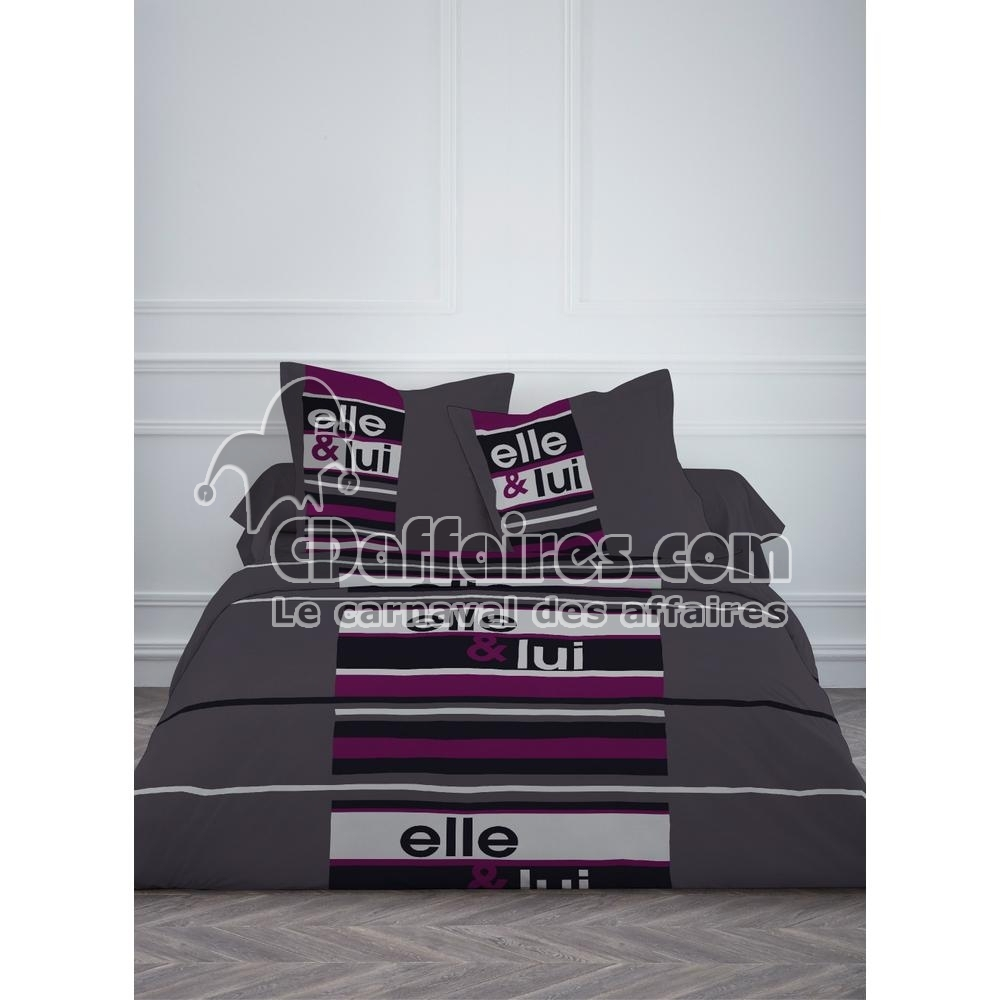housse de couette 220x240 cm 2 taies elle lui ebay. Black Bedroom Furniture Sets. Home Design Ideas