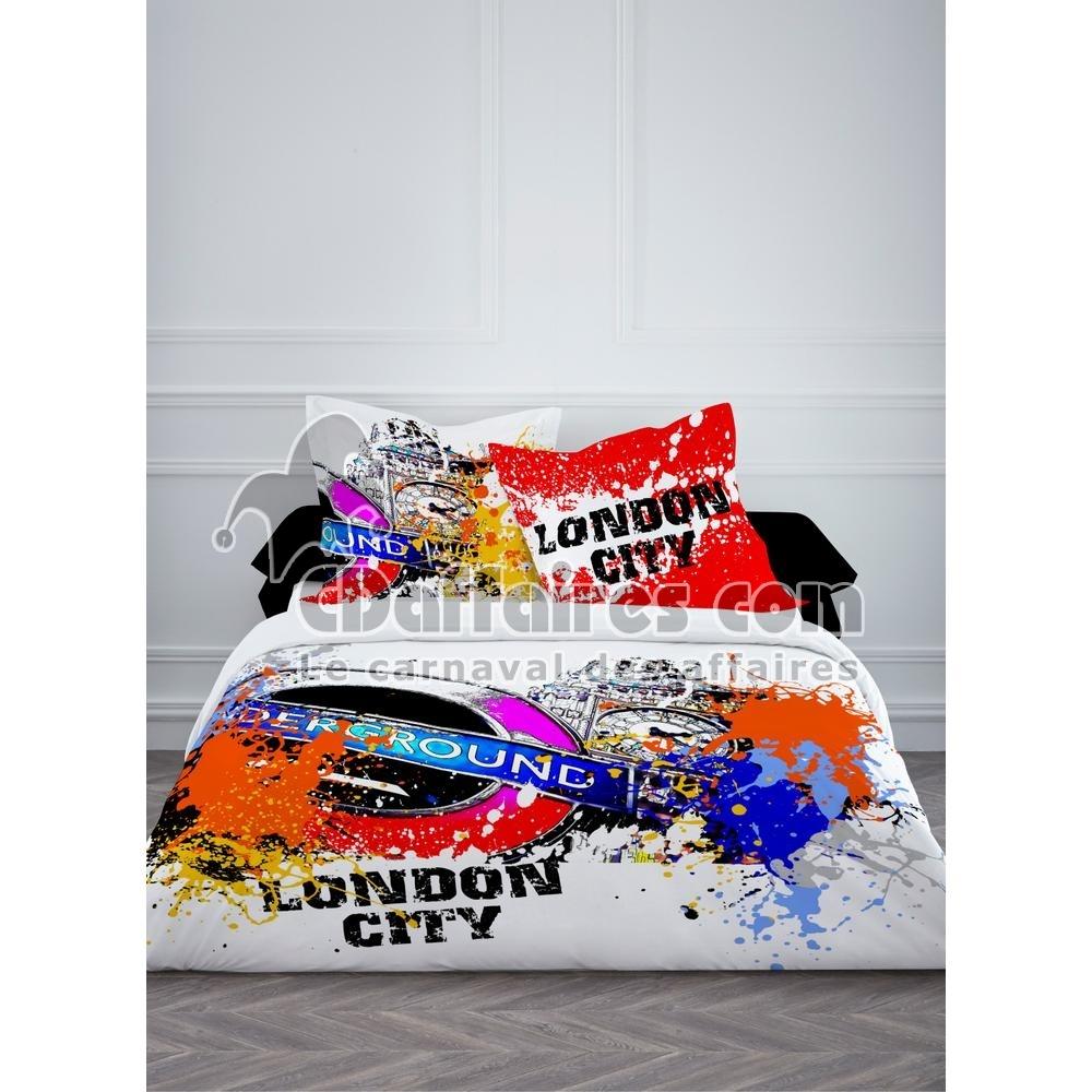 housse de couette 220x240 cm 2 taies london city. Black Bedroom Furniture Sets. Home Design Ideas