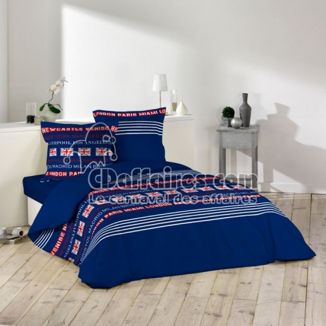 housse de couette 220x240 cm microfibre polyester world city bleu. Black Bedroom Furniture Sets. Home Design Ideas