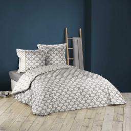 Housse de couette 240x200 cm + 2 taies d'oreiller 100% coton 42 fils allover art deco chic