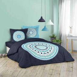 Housse de couette 240x200 cm + 2 taies d'oreiller 100% coton 42 fils dessin place baobab