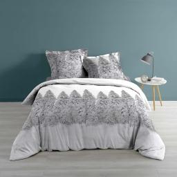 Housse de couette 240x220 cm + 2 taies d'oreiller 100% coton 57 fils allover sapin Blanc