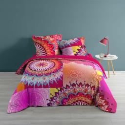 Housse de couette 240x220 cm + 2 taies d'oreiller 100% coton 57 fils dessin place pampelune