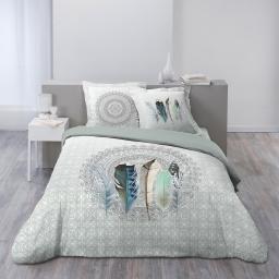 Housse de couette 260x240 cm + 2 taies d'oreiller 100% coton 42 fils dessin place inaji