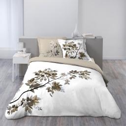 Housse de couette 260x240 cm + 2 taies d'oreiller 100% coton 42 fils dessin place palina