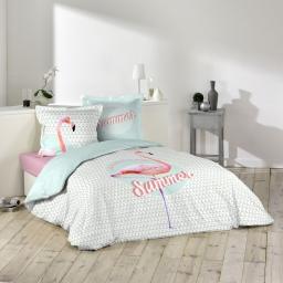 Housse de couette 260x240 cm + 2 taies d'oreiller 100% coton 42 fils dessin place summer pink