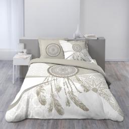 Housse de couette 260x240 cm + 2 taies d'oreiller 100% coton 42 fils dessin place wild night