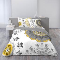 Housse de couette 260x240 cm + 2 taies d'oreiller 100% coton 42 fils dessin place yellow manda